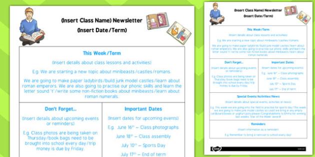 KS2 Editable Newsletter Template - ks2, editable, newsletter