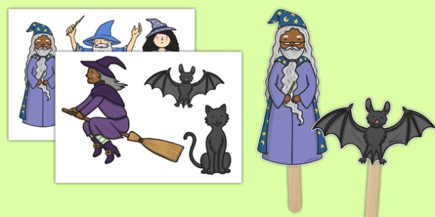 Witches and Wizards Stick Puppets - witches and wizards, stick puppets, stick, puppets, role play, activity