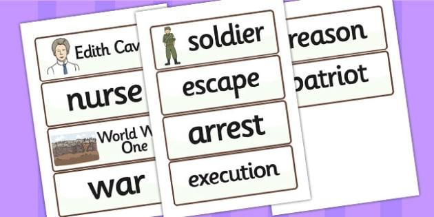 Edith Cavell Word Cards - edith cavell, word cards, topic cards, themed word cards, themed topic cards, key words, key word cards, keyword, writing aid