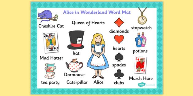 Alice in Wonderland Word Mat - words, literacy, visual aids