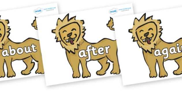 KS1 Keywords on Lions - KS1, CLL, Communication language and literacy, Display, Key words, high frequency words, foundation stage literacy, DfES Letters and Sounds, Letters and Sounds, spelling