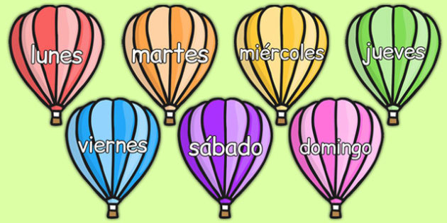 Days of the Week on Hot Air Balloons (Plain) Spanish - spanish, days, week, hot air balloons