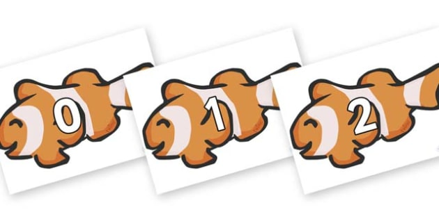 Numbers 0-100 on Clown Fish - 0-100, foundation stage numeracy, Number recognition, Number flashcards, counting, number frieze, Display numbers, number posters