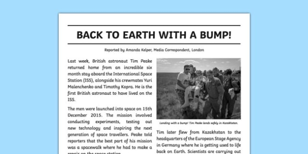 Back To Earth Newspaper Report Writing Sample