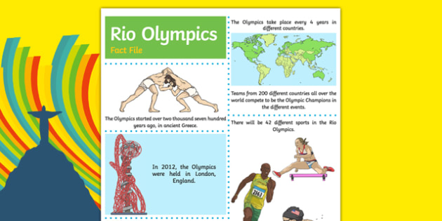Rio Olympics Fact File Sheets - Olympics, summer, sports, events, team/partner/individual, winner, Rio, countries, world, Athletes.