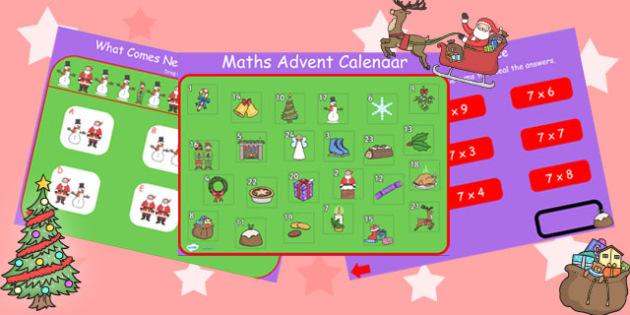 Maths Advent Calendar IWB - maths, numeracy, advent, calendar, xmas