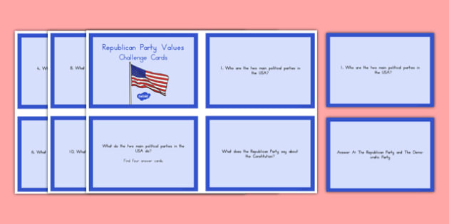 Republican Party Values Challenge Cards