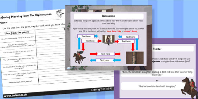 The Highwayman Inference and Character Relationships Powerpoint