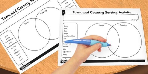 Town and Country Venn Diagram Activity Sheet - activity, sheet, worksheet