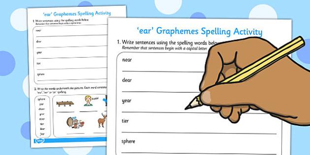 ear Graphemes Spelling Activity - spelling, activity, graphemes