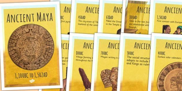 Mayan Civilisation Timeline Posters - maya, mayans, time line