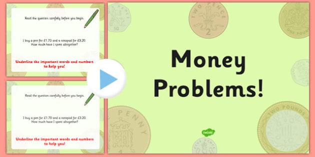 Money Problems Task Setter PowerPoint - money, tasks, powerpoint