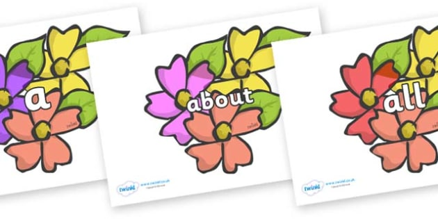 100 High Frequency Words on Flowers - High frequency words, hfw, DfES Letters and Sounds, Letters and Sounds, display words
