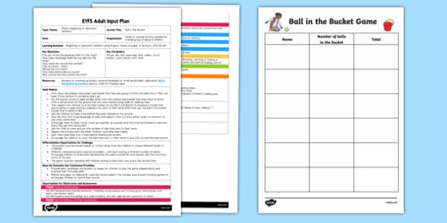 EYFS Ball in the Bucket Adult Input Plan - EYFS, Early Years planning, adult led, Maths, counting, representing numbers, throwing, target game.