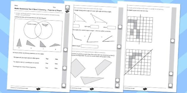 Year 4 Maths Assessment: Geometry - Properties of Shapes Term 2 - year 4, maths, assessment, geometry