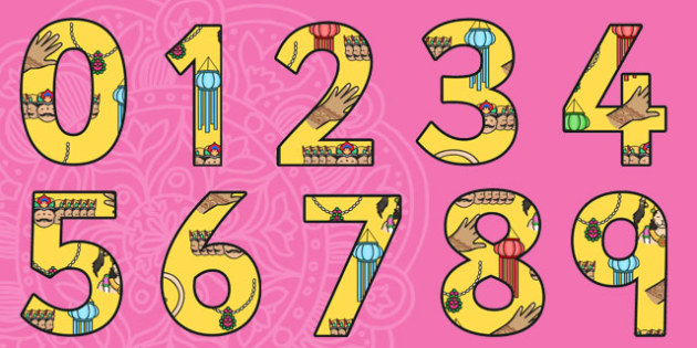 Diwali Themed A4 Display Numbers-diwali, themed, A4, display, numbers, display numbers, diwali numbers, diwali display, A4 numbers, RE, divali, divalli