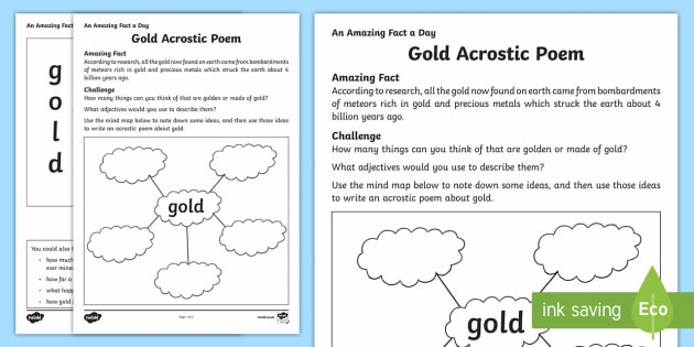 Gold Acrostic Poem - Amazing Fact Of The Day, activity sheets, powerpoint, starter, morning activity, December, acrostic