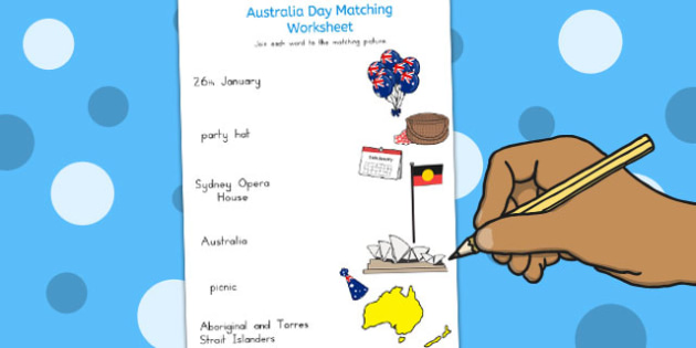 Australia Day Word and Picture Matching Worksheet - australia