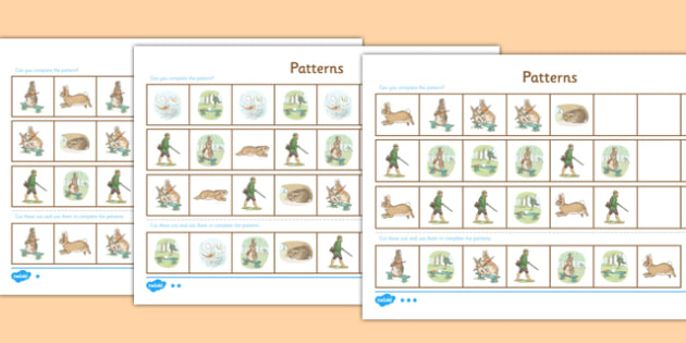 Beatrix Potter - The Story of a Fierce Bad Rabbit Differentiated Complete the Pattern Activity Sheet Pack - beatrix potter, fierce, bad, rabbit, worksheet