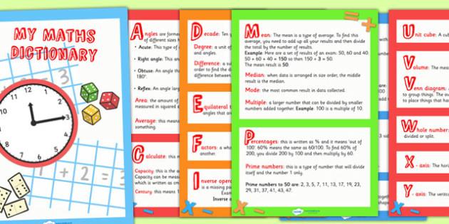 Maths Dictionary - maths, numeracy, dictionary, words, vocabulary