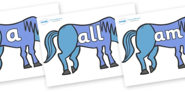 Foundation Stage 2 Keywords on Blue Horse to Support Teaching on Brown Bear, Brown Bear - FS2, CLL, keywords, Communication language and literacy,  Display, Key words, high frequency words, foundation stage literacy, DfES Letters and Sounds, Letters