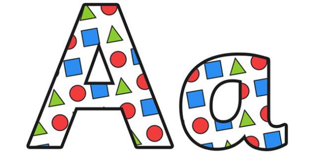 Shapes Display Lettering - shapes lettering, shapes, shapes display, shape themed display lettering, shape themed alphabet, shape themed a-z letters