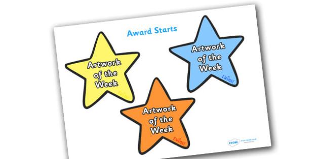 Artwork of the Week Award Star - artwork of the week award star, artwork of the week, artwork, week, star, stars, certificates, award, well done, reward, medal, rewards, school, general, certificate, achievement