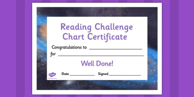 Reading Challenge Chart Certificates Galaxy Themed - awards, record, celebrate, celebration, early years, ks1, ks2, target, space, stars, sun, moon, stellar, sky, rockets,
