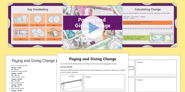 Paying and Giving Change PowerPoint Pack