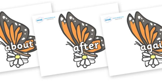 KS1 Keywords on Butterflies - KS1, CLL, Communication language and literacy, Display, Key words, high frequency words, foundation stage literacy, DfES Letters and Sounds, Letters and Sounds, spelling