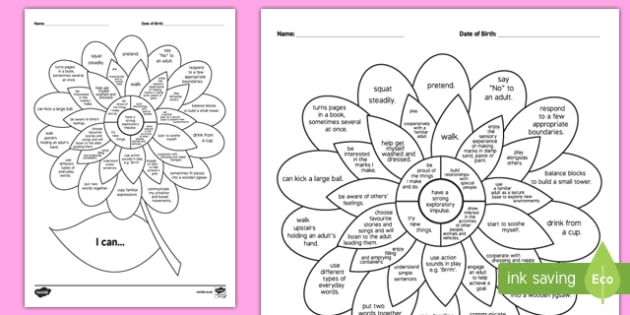 1-2 Years 'I Can' Assessment Flower