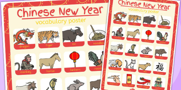 Chinese New Year Themed Vocabulary Poster - australia, vocabulary