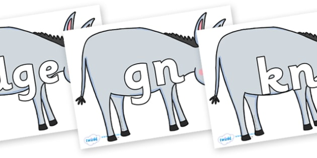Silent Letters on Hullabaloo Donkey to Support Teaching on Farmyard Hullabaloo - Silent Letters, silent letter, letter blend, consonant, consonants, digraph, trigraph, A-Z letters, literacy, alphabet, letters, alternative sounds