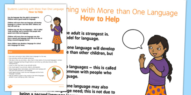 Supporting Students with More than One Language Strategy Sheet