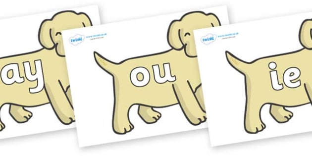 Phase 5 Phonemes on Puppies - Phonemes, phoneme, Phase 5, Phase five, Foundation, Literacy, Letters and Sounds, DfES, display