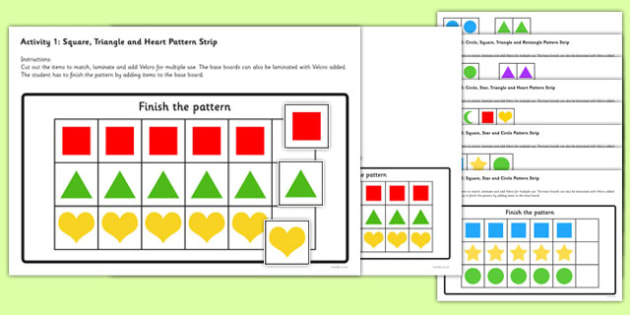 Workstation Pack: Shape Sequence Match Activities Set 2 - autism, autistic, independent activities, early sequencing, low functioning