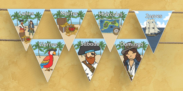 Pirate Themed Days of the Week on Bunting Spanish - spanish, pirate themed, days of the week, bunting, pirate bunting, days of the week on bunting, bunting