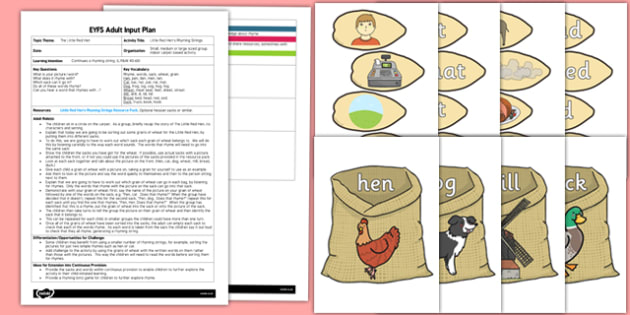 Little Red Hen's Rhyming Strings EYFS Adult Input Plan and Resource Pack - little red hen