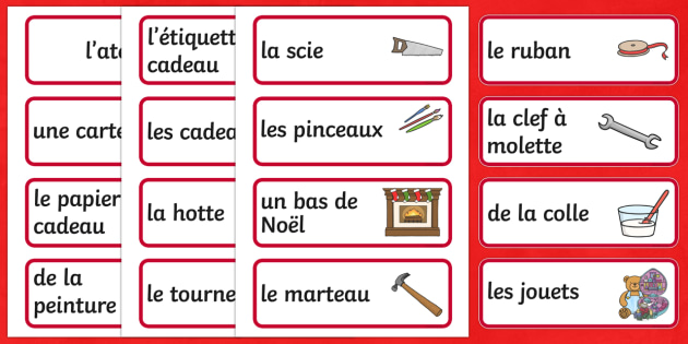Santa's Workshop Role Play Topic Word Labels French - french, santas workshop, role play, word, labels