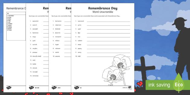 Remembrance Day Word Unscramble