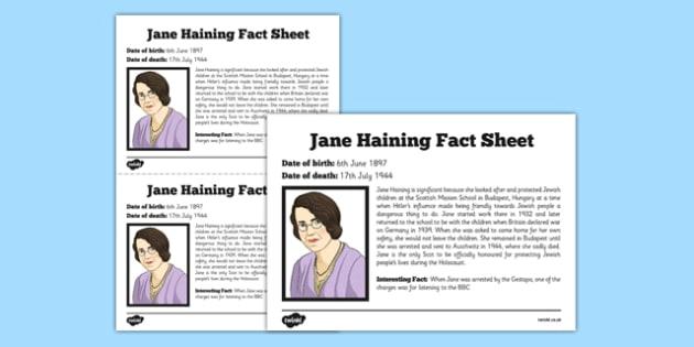 Scottish Significant Individuals Jane Haining Fact Sheet - Scottish significant individual, Christian, missionary, Holocaust, Jewish, Auschwitz
