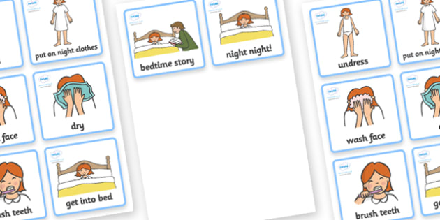 Visual Timetable (Getting Ready For Bed) - getting ready for bed, education, home school, child development, children activities, free