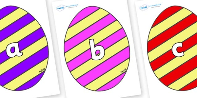 Phase 2 Phonemes on Easter Eggs (Stripes) - Phonemes, phoneme, Phase 2, Phase two, Foundation, Literacy, Letters and Sounds, DfES, display
