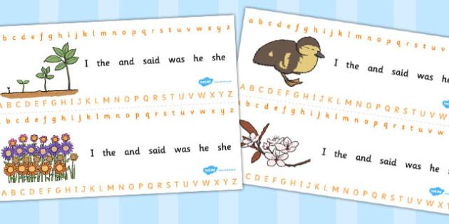 Spring Alphabet Strips - seasons, letters, lettering, visual