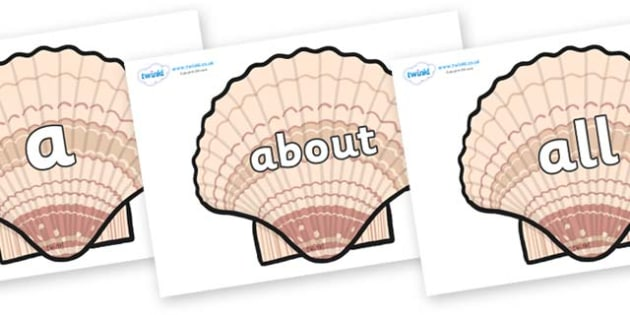 100 High Frequency Words on Seashells - High frequency words, hfw, DfES Letters and Sounds, Letters and Sounds, display words