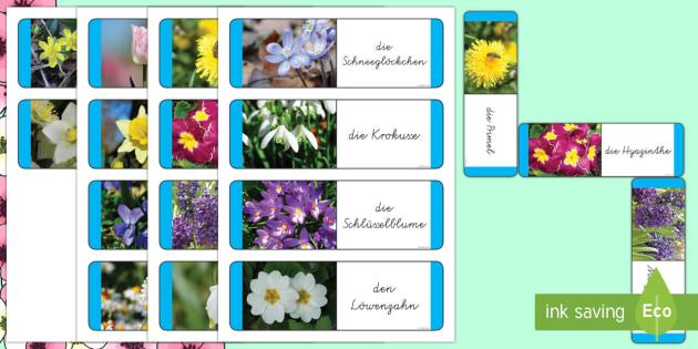 Frühlingsblumen Memory Karten - DE  Frühling (Spring),German, blumen, karten, spiel.