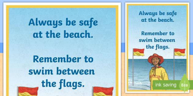 Swim Between the Flags A4 Display Poster - Surf Life Saving Australia, surf, surfing, life saver, life guard, swim between the flags, flag, bea