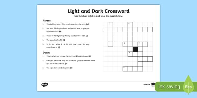 KS1 Light and Dark Crossword