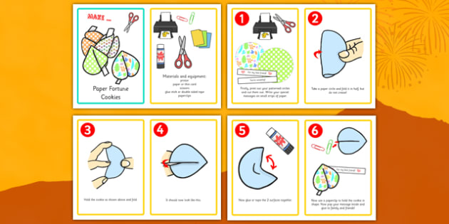Chinese New Year Paper Craft Fortune Cookies Activity Instruction