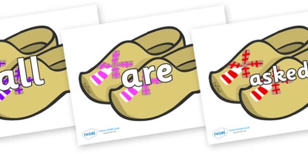 Tricky Words on Wooden Shoes - Tricky words, DfES Letters and Sounds, Letters and sounds, display, words